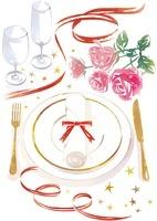 バラと食器とグラス
