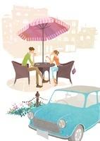 車とお茶をしているカップル 02463000776| 写真素材・ストックフォト・画像・イラスト素材|アマナイメージズ