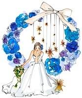 青い花のリースに座っている新婦