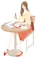 イスに座って仕事をしている女性