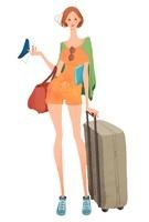 旅行カバンと女性