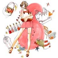 女性とバッグと化粧品と洋服と靴