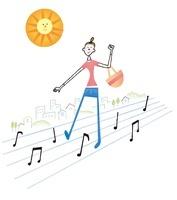 買い物している女性と太陽 02463000814| 写真素材・ストックフォト・画像・イラスト素材|アマナイメージズ