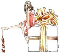女性とプレゼントボックス