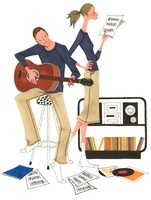 ギターを引いている男性と楽譜をチェックしている女性
