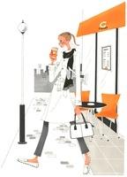 コーヒーを飲みながら歩いている女性