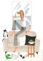 リンゴを手に持ちながらソファーに座っている女性
