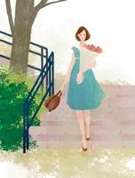 お花を手に持ちながら階段から降りる女性