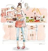 台所で料理を作っている女性