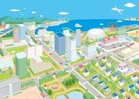 遠景に海が見える街イラスト