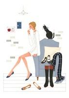 猫と女性と靴やブーツ