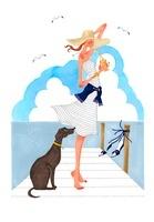 犬とドリンクを飲んでいる女性