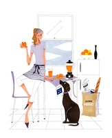 犬とオレンジジュースを作っている女性