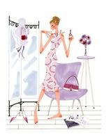 鏡を見ながら自分を見つめている女性 02463000920| 写真素材・ストックフォト・画像・イラスト素材|アマナイメージズ