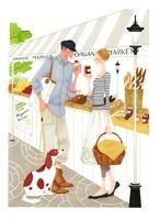 市場で楽しくジャムとパンを食べているカップル