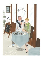 カフェーでお茶をしている年寄りの夫婦