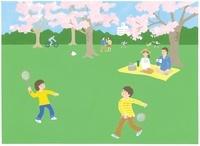 公園でバッドミントンをしている男の子2人
