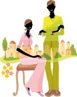 街と女性2人