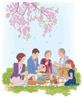 花見をする家族 02463000940| 写真素材・ストックフォト・画像・イラスト素材|アマナイメージズ