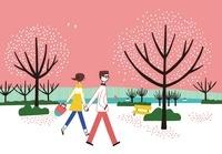 公園で散歩をしているカップル
