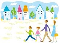 街の中を歩いている家族