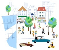 賑やかな街のシーン