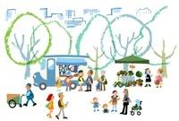 街の公園で家族やカップルが楽しく時間を過ごしている 02463000952| 写真素材・ストックフォト・画像・イラスト素材|アマナイメージズ