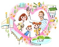 建物、公園、楽しい感じの家族