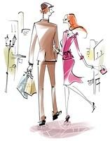 街でショッピングをしているオシャレなカップル