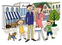 街の広場と家族