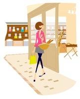 パン屋で買い物をしている女性 02463000979| 写真素材・ストックフォト・画像・イラスト素材|アマナイメージズ
