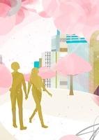 街で手を繋いでいるカップル