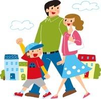 街を歩いている家族 02463000984| 写真素材・ストックフォト・画像・イラスト素材|アマナイメージズ