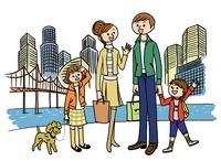 海辺の高層ビルと家族