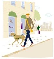 街で犬の散歩をしている男性 02463000988| 写真素材・ストックフォト・画像・イラスト素材|アマナイメージズ