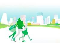 街を歩いている家族