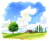 広い草原にある農場 02463001047| 写真素材・ストックフォト・画像・イラスト素材|アマナイメージズ