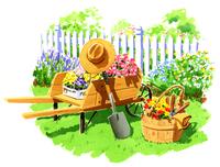 お花を摘んだカートとバスケットがある庭