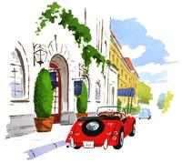 白い建物の前に止めてある赤い車 02463001059| 写真素材・ストックフォト・画像・イラスト素材|アマナイメージズ