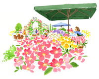 横から見たお花の市場と店員