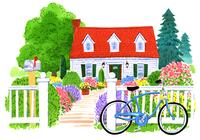 赤い屋根の家とたくさんのカラフルな花が咲いた庭と青い自転車 02463001062| 写真素材・ストックフォト・画像・イラスト素材|アマナイメージズ