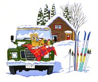 コテージの前に止めてある緑色のジープとスキー 02463001063| 写真素材・ストックフォト・画像・イラスト素材|アマナイメージズ