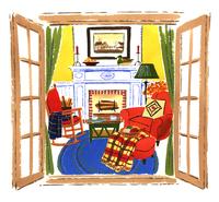 窓の外から見た家の暖炉のある部屋 02463001065| 写真素材・ストックフォト・画像・イラスト素材|アマナイメージズ