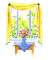 外の庭が見える開いた窓と花が入った花瓶