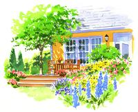 庭とテラスのある大きな黄色の家