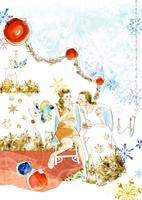 クリスマスケーキーを食べている女性2人