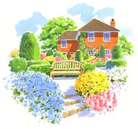 たくさんの花と木がある庭と大きな濃いオレンジ色の家