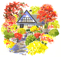 紅葉した庭のある大きなグレーの家 02463001082| 写真素材・ストックフォト・画像・イラスト素材|アマナイメージズ