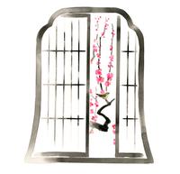 格子窓から見える梅の枝