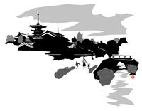 塔の見える河原を歩いている親子 02463001088| 写真素材・ストックフォト・画像・イラスト素材|アマナイメージズ